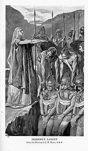 "Deirdre - ""Deirdre's Lament"", drawing by J.H. Bacon, c.1905."