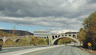 Delaware River Viaduct - A view of the viaduct where it crosses I-80 on the New Jersey side of the Delaware River.