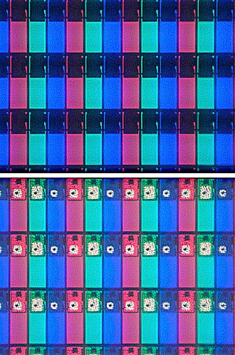 Indium - A magnified image of an LCD screen showing RGB pixels. Individual transistors are seen as white dots in the bottom part.