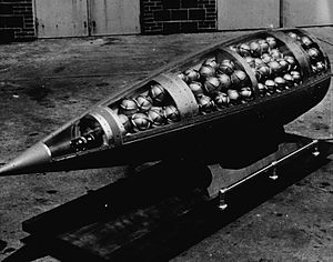 United States and weapons of mass destruction - Honest John missile warhead cutaway, showing M134 Sarin bomblets (photo c. 1960)