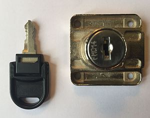 Wafer tumbler lock - A common type of wafer tumbler lock, usually found on desk drawers, office cabinets, lockers and electrical panels