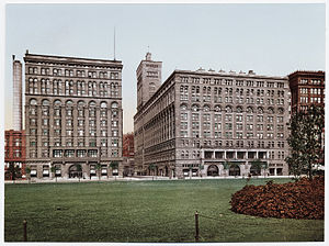 Congress Plaza Hotel - A historic view of the Congress Plaza Hotel (left) and Auditorium Building