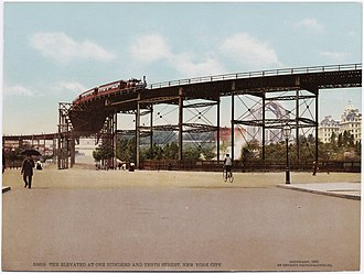 110th Street (IRT Ninth Avenue Line) - 1900 Postcard of the same suicide curve at another angle.