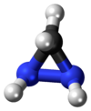 Ball-and-stick model of the diaziridine molecule