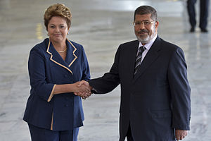 Mohamed Morsi - Morsi and Brazilian President Dilma Rousseff in Brasília, Brazil, May 2013