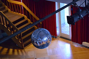 Disco ball - A disco ball and spotlight in the Fishbowl of Currier House.