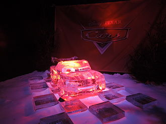 Lightning McQueen - Ice sculpture of Lightning McQueen.