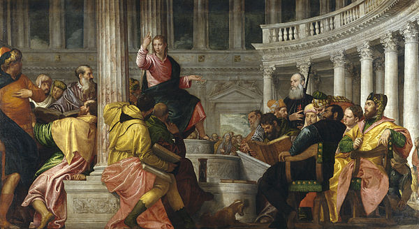 Christ among the Doctors, c. 1560, by Paolo Veronese Disputa con los doctores (El Verones) grande.jpg