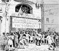 Distribution de cocardes devant les bureaux de La Cocarde (Monde illustré, 1888-03-25).jpg