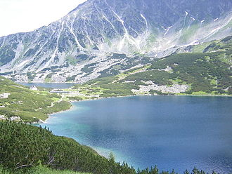 High Tatras - A High Tatras valley (dolina) with mountain lake.