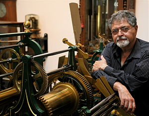 Donald Saff - Donald Saff pictured with a nineteenth-century French tower clock.