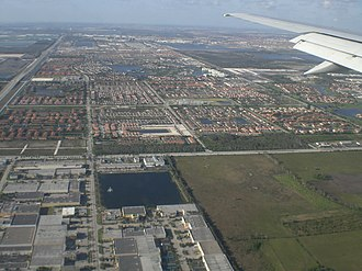 Doral, Florida - Aerial view of western Doral
