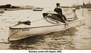 Dorothy Levitt - Dorothy Levitt driving the Napier motor yacht, 1903