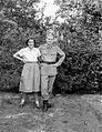 Double portrait, uniform, lady, skirt, blouse, snocks, sandal, boots Fortepan 7405.jpg