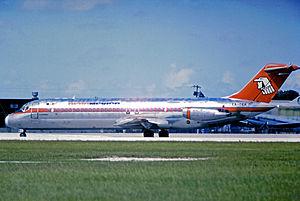 1986 Cerritos mid-air collision - Image: Douglas DC 9 30 XA DEK Aeromexico MIA 03.08.75 edited 2