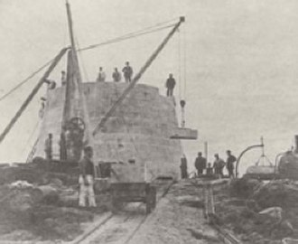 Dubh Artach - Construction of the tower on site in 1870