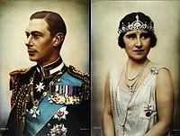 Portraits du futur roi George VI et de sa femme Elizabeth Bowes-Lyon en 1925.
