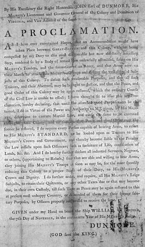 Martial law - Dunmore's Proclamation declaring Martial law in the proclaimed May 27, 1775, several months after the beginning of the American Revolutionary War