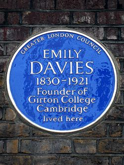 Emily davies 1830 1921 founder of girton college cambridge lived here