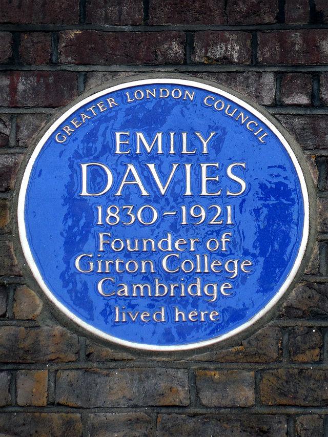 Emily Davies blue plaque - Emily Davies 1830-1921 founder of Girton College, Cambridge lived here