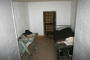 Eastern State Penitentiary - A typical cell in restored condition.