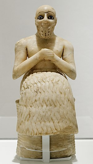 History of Sumer - A Sumerian statue of a praying Sumerian excavated in modern-day eastern Syria of c. 2400 BC.