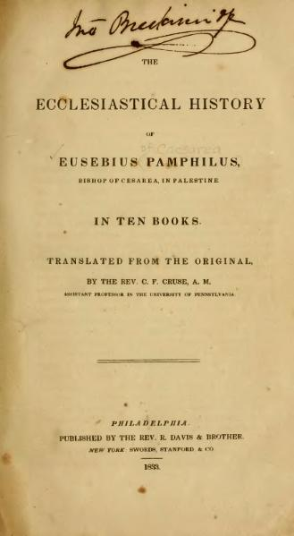 File:Ecclesiastical History of Eusebius Pamphilus, 1842.djvu