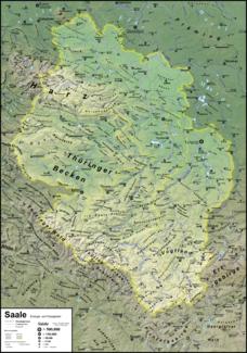 Das Einzugsgebiet der Saale mit hervorgehobenen Wasserscheiden von Unstrut und Weißer Elster; zusätzlich ist die Bode hervorgehoben