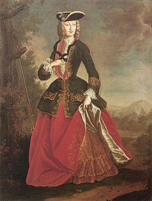 1700–50 in Western fashion - Empress Elisabeth Christine in riding costume.