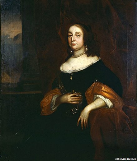 Portrait of Cromwell's wife Elizabeth Bourchier, painted by Robert Walker Elizabeth Bourchier Cromwell.jpg