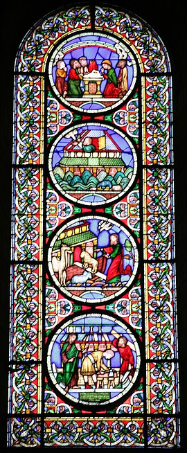 The Noah Window, by Alfred Gerente, in the nave south aisle. Ely Cathedral window 20080722-24.jpg
