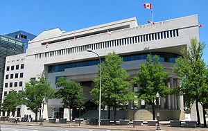 Embassy of Canada, Washington, D.C. - Arthur Erickson's combination of modernism and neoclassicism evokes I.M. Pei's design for the National Gallery of Art's East Building across Pennsylvania Avenue.