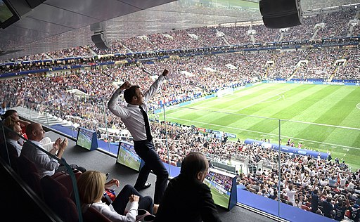 Emmanuel Macron shouts with euphoria the goal of France against Croatia in the World Cup Russia 2018