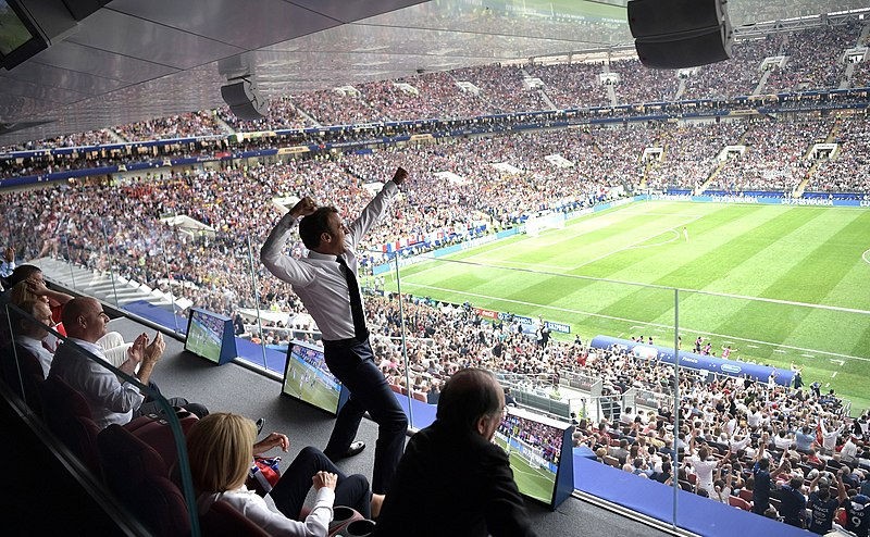 File:Emmanuel Macron shouts with euphoria the goal of France against Croatia in the World Cup Russia 2018.jpg