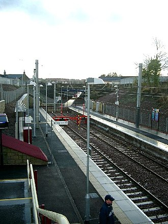 Larkhall railway station - Image: End of the line^ geograph.org.uk 103918