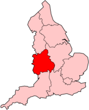 West Midlands English - Location of the West Midlands region in England.