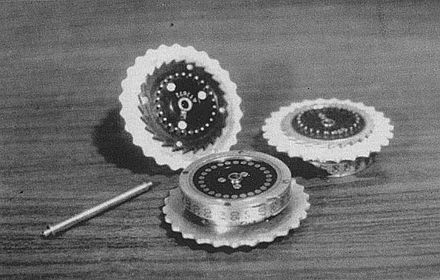 Three Enigma rotors and the shaft, on which they are placed when in use. - Enigma machine