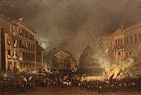 Episodio de la revolución de 1854 en la Puerta del Sol (cropped).JPG