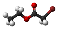 Ball-and-stick model of ethyl bromoacetate