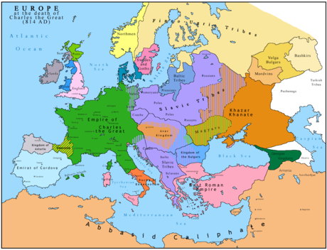 Carolingian Empire (green) in 814 Europe 814.png