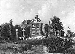Huize 'Meer en Vaart', het Tolhuis en het tolhek aan de Haarlemmerweg tegenover Sloterdijk, van het oosten uit gezien