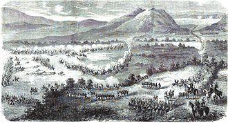 Battle of Atlixco (1862) - Image: Expédition du Mexique. — ENSEMBLE TOPOGRAPHIQUE DU COMBAT D'ATLISCO. — D'après un croquis de M. Girardin