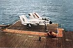 F7U-3 VF-124 on elevator of USS Hancock (CVA-19) c1956.jpg