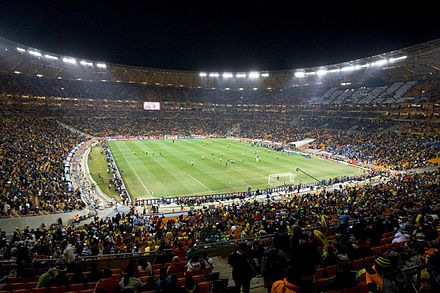 Interior view of the Soccer City in Johannesburg, South Africa, during a match at the 2010 FIFA World Cup FIFA World Cup 2010 Uruguay Ghana.jpg