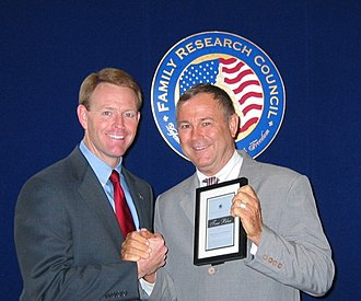 Dana Rohrabacher - Rohrabacher receiving the True Blue award from FRC President Tony Perkins in 2003