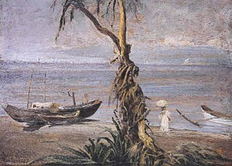 Pasay - Pasay beach, Manila, oil on board by Fabian de la Rosa, 1927