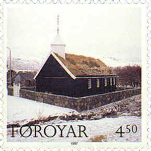 Hvalvík - Image: Faroe stamp 318 church of hvalvik