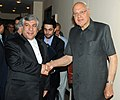 Farooq Abdullah with the Minister of Energy, Iran, Mr. Majid Namjoo, at a bilateral meeting, on the sidelines of International Seminar on Energy Access, in New Delhi on October 10, 2012.jpg
