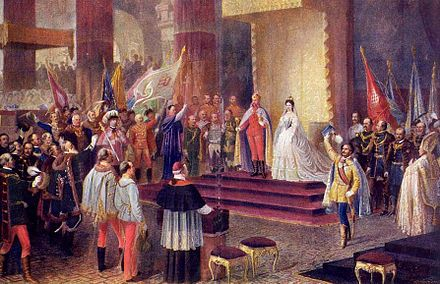 Coronation of Francis Joseph I and Elisabeth Amalie at Matthias Church, Buda, 8 June 1867 Ferenc Jozsef koronazasa Budan.jpg