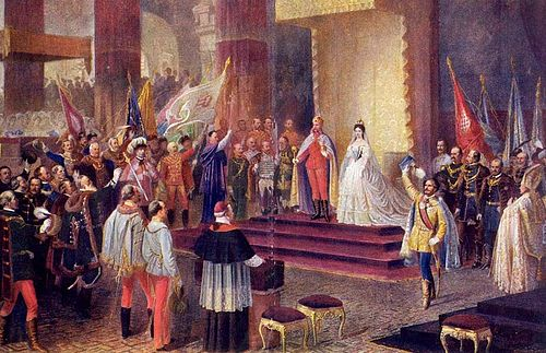 Franz Joseph's coronation as Apostolic King of Hungary. Painting by Edmund Tull. Ferenc Jozsef koronazasa Budan.jpg